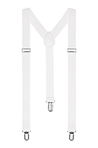 Autiga® Hosenträger Herren Damen Hosen Träger Y Form Style Clips Schmal Neon Bunt Farbig weiß