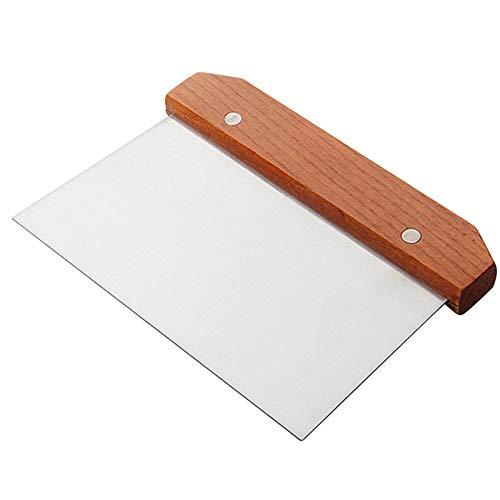 Grattoir à pâte en acier inoxydable distributeur de pizza diviseur de tarte outil de coupe de pâte avec poignée en bois pour boulangerie, cuisine, ménage, cuisinière