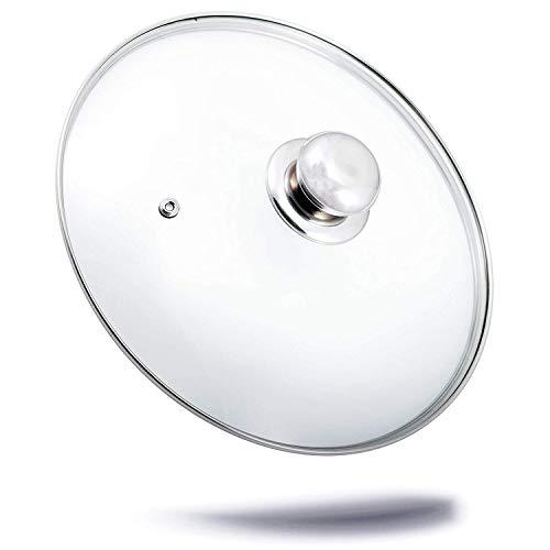 Kerafactum Topfdeckel Deckel aus Glas spülmaschinenfest hitzebeständiger Universaldeckel für Topf und Pfanne gehärtetes Qualitätsglas Glasdeckel Dampfloch hochwertiger Griff aus Edelstahl (16 cm)