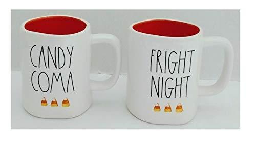 Rae Dunn Artisan Collection マゼンタキャンディコマと恐ろしい夜 キャンディコーンデザイン オレンジインテリアハロウィーン2個セット コーヒーティーマグ LL