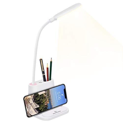 HDCOOL LED Schreibtischlampe, 2 Farbmod und Stufenloses Dimmen, Tischleuchte mi Touch Control-Taste, Schwanenhals Lampe mit USB-Ladeanschluss, Energiesparende Tragbare zum Lesen im Bürowohnheim(weiß)