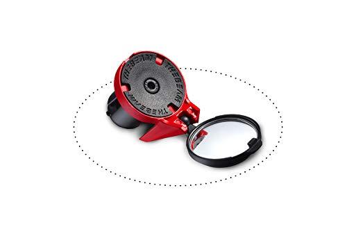 THE BEAM Adulte Unisexe Rückspiegel für Rennräder-E-Bike-Aerodynamisch-Design-Lenkergriffbefestigung-Corky by, Rot, Durchmesser des Spiegels 32 mm