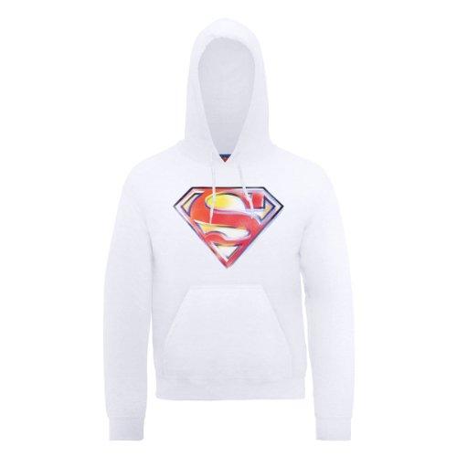 DC Comic DC0000476 Official Superman Stencil Logo Sweat-Shirt à Capuche, Blanc, M Homme