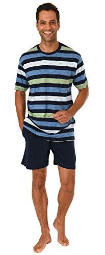 Lässiger Herren Shorty Pyjama Kurzarm Schlafanzug in Streifenoptik - 191 105 90 516, Farbe:Marine, Größe2:54