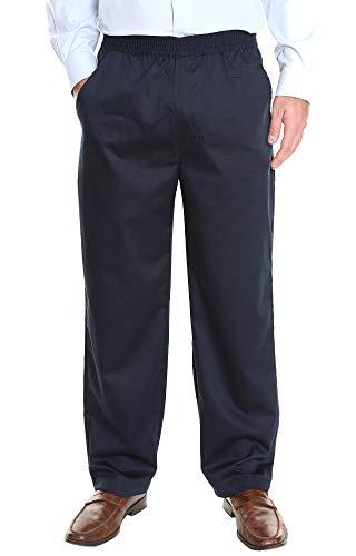Pembrook Men's Full Elastic Waist Twill Casual Pant - L - Navy