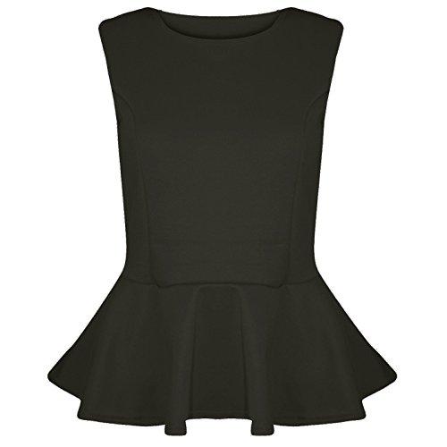 The Celebrity Fashion New Womens ärmlös enkel Peplum utsvängd plus size volang mini patriotisk klänning topp 8-26