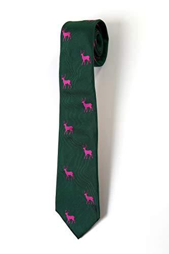 KRAWATTENDACKEL Jagd Krawatte Grün Hirsch Krawatte Pink