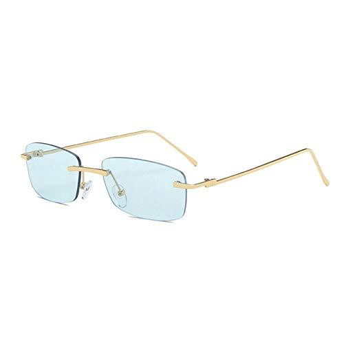 ZZOW Gafas De Sol Sin Montura Rectangulares Pequeñas De Moda para Mujer, Gafas De Sol Clásicas con Lentes Transparentes para El Océano, Gafas De Sol Graduadas para Hombre, Sombras Uv400