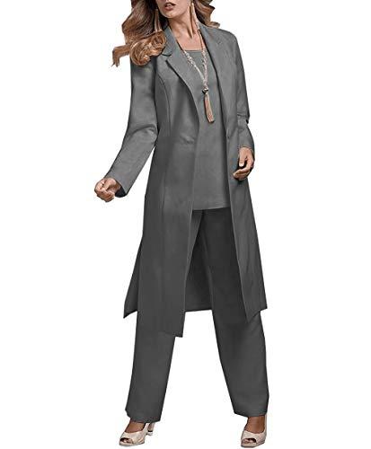 JinXuanYa Damen Chiffon Elegant Hosenanzuge mit Arm Tunika Blusen Weitem Bein Langhose Hosenanzug Party Abendmode Dreiteilig Hosen Anzug Set(Grau,44)