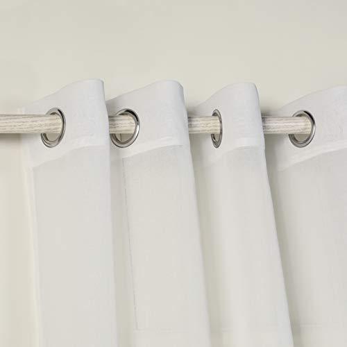 PimpamTex - Cortina Decorativa Translucida con 8 Ollaos Metálicos, Visillos para Salón o Dormitorio, Moderna y Original Variedad de Colores, Modelo Molly (140 x 280 cm, Natural)