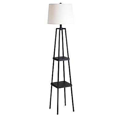 Catalina Lighting 19305-000 3-Way Étagère Floor Lamp, with Distressed Iron Paint, 14  x 14  x 58 , Black Metal