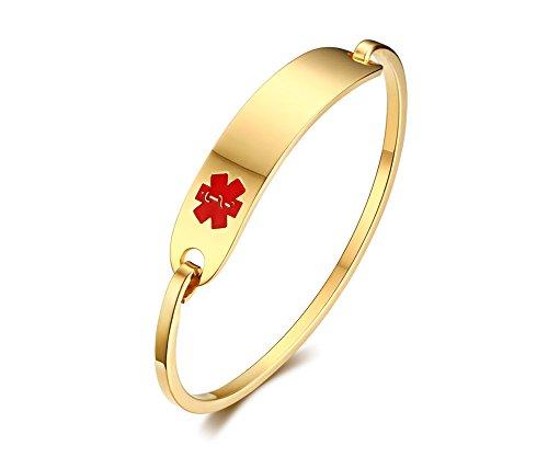 PJ JEWELLERY Kostenlose benutzerdefinierte Gravur Edelstahl Haken Haken Oval Fit Medical Alert ID Armreif, Gold, 60mm