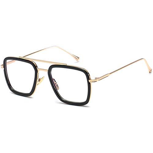 SHEEN KELLY Retro Sonnenbrille Quadratische Brillen Metallrahmen für Männer Frauen Klassiker Sonnenbrille Gold Piloten Auf blu Ray