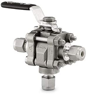 """Swagelok SS-63XTS8 Ball Valve, (3 Way), 1/2"""" Tube OD Compression, 1,000 psi, Stainless Steel"""