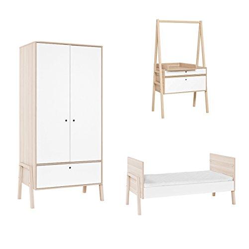 Chambre complète lit évolutif 70x140 - commode évolutive - armoire 2 portes Spot - Blanc