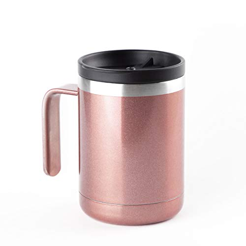 ICONIQ Stainless Steel Insulated Tumbler Mug with Built-in Handle and Splash Proof Lid | 12 Ounce | Rose Gold