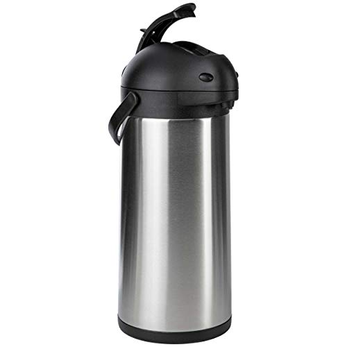 ONVAYA® Airpot Pumpkanne | Isolierkanne | Thermoskanne | Getränkespender | Edelstahl mattiert | Kaffeekanne | Doppelwandig (5 Liter)