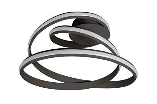 WOFI TESS - Plafoniera in plastica, 39 W, colore: Nero
