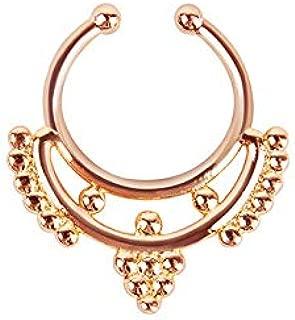 Septum Clicker Crystal Zircon Hoop Nose Stud Ring Barbell Clip Earring Piercing   Styles - #E Rose Gold