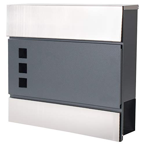 SPRINGOS Briefkasten|37,5 x 36,5 x 11cm|Anthrazit|Metallic|3 Fenster|Zeitungsfach|Wandbriefkasten (Anthrazit, Metallic - Design 5)