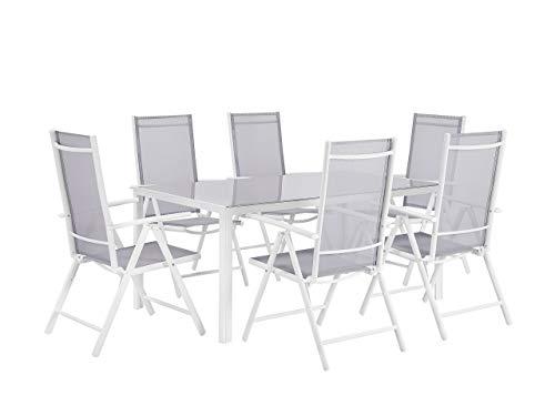 Beliani Modernes Gartenmöbel Set in Grau Tisch und 6 Stühle Aluminium Textilene Prato