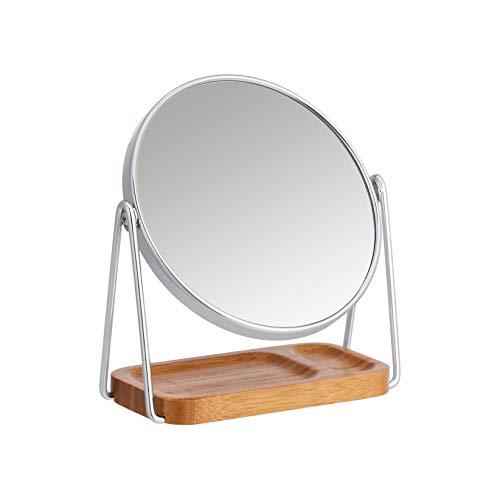 AmazonBasics – Kosmetikspiegel mit rechteckiger Bambus-Ablage, Vergrößerung 1-fach/5-fach