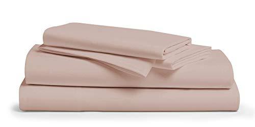 Bettwäsche-Set aus 100 % Baumwolle, Fadenzahl 600, 4-teilig, langstapelige Baumwolle, atmungsaktiv, weiches und seidiges Satingewebe, passend für Matratzen bis zu 45,7 cm Tiefe California King blush