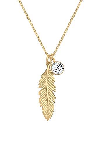 Elli Halskette Damen Feder Boho Anhänger mit Swarovski® Kristall in 925 Sterling Silber
