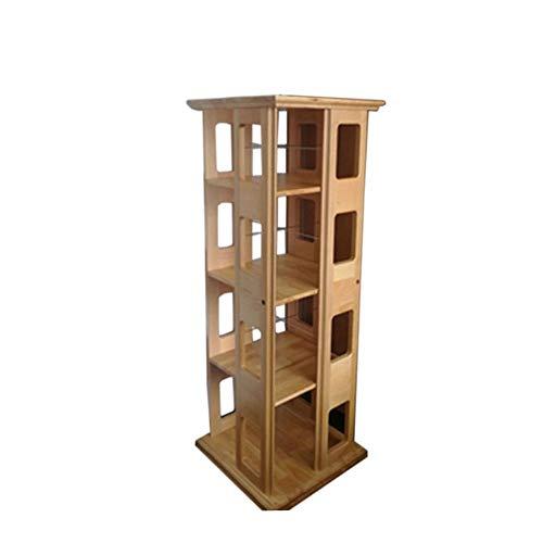 JCNFA planken 360 graden roterende boekenplank massief houten chassis roestvrij staal driedimensionale opslag, 4 lagen, 3 kleuren 17.32 * 17.32 * 47.24in Wood Color