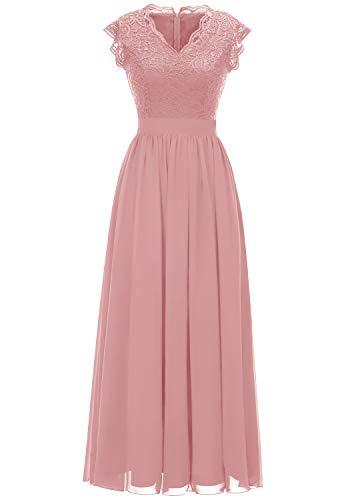 Dressystar Damen Elegant Ballkleider V-Ausschnitt Flora Spitze Chiffon Lang Cocktailkeider Abendkleider Blush XL