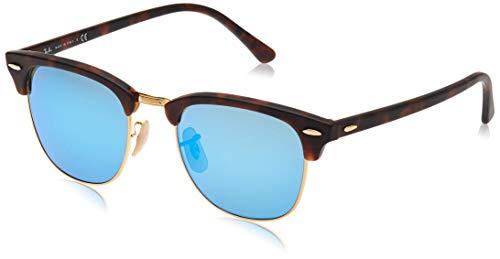 Ray-Ban RB3016 Clubmaster Sonnenbrille 51mm, Braun (Gestell: Havana, Gläser: Blau Flash 114517), 51 mm