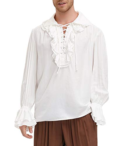 Gothic Steampunk Long Sleeves Colonial Tee Shirt Halloween Costume Top for Men White XL
