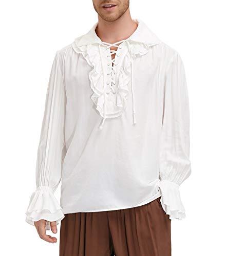 SCARLET DARKNESS Pirate Steampunk Shirt Men Renaissance Costume Gothic Tee Shirts White S