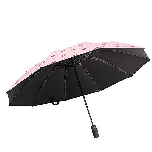 Langchao Paraguas Plegable automático 10K Vinilo Reverso Paraguas al Aire Libre Lluvia Paraguas sombrilla Primer Amor de niña 107cm10 Varilla de Paraguas