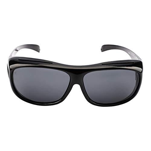 Sicherheits-Überbrille Nachtfahrbrille Unisex Kratzbeständigen Gläsern, Seitenschutz,400 UV-Schutz, HD-Sichtglas,mit Hartschalen-Etui,sturzsicher können auch Wind-, Sand (schwarz)