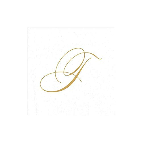 Caspari White Pearl & Gold Paper Linen Boxed Cocktail Napkins in Letter T - Pack of 30