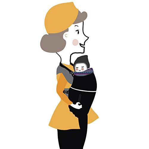 Manduca 199 – 41 – 18 – 001 Couverture d'hiver pour porte-bébé, noir avec intérieur coloré, universel