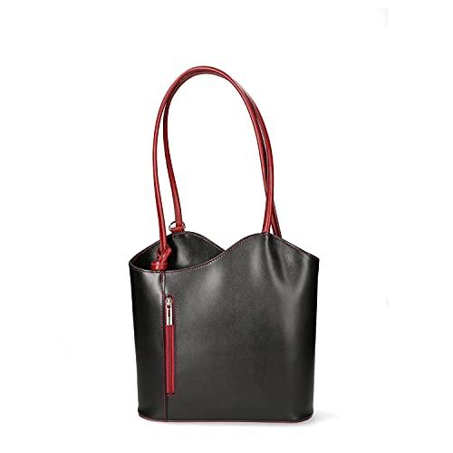 Borsa a spalla donna borsa zaino in pelle liscia vacchetta borsa media italiana 9039 - Nero - Rosso