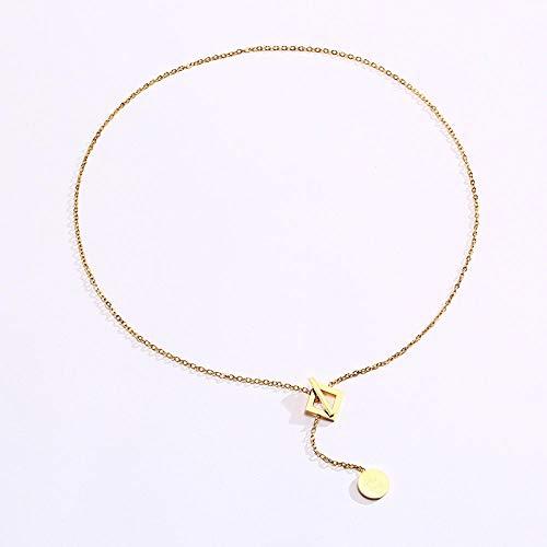 Herren Halskette Anhänger Schmuck Sexy Y Halskette Für Frauen Gold Farbe Edelstahl Münze Anhänger Viel Glück Fortune Minimalist Chic Geometric Square Collar