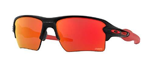 Oakley Flak 2.0 XL NFL Kansas City Chiefs OO9188 9188D2 59M Matte Black/Prizm Ruby Rectangular Sunglasses For Men For Women+BUNDLE with Oakley Accessory Leash Kit