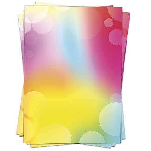 Briefpapier Motivpapier Design-Motiv Rainbow Bubbles - 50 Blatt, DIN A4 Format, Bastel-Papier beidseitig bedruckt