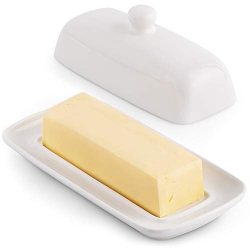 Zulay Porcelain White Butter Dish With Lid For Countertop - Classic Style...