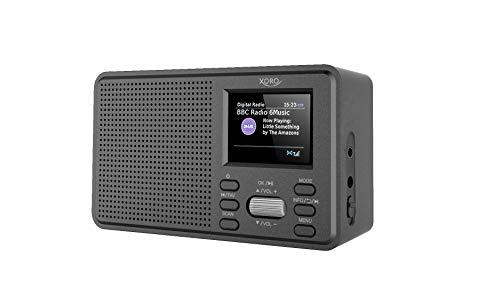 Xoro DAB 142 tragbares digitales Radio, UKW/DAB/DAB+, Senderspeicher, RDS-Funktion, Wecker, Batterie- u. Netzbetrieb, schwarz