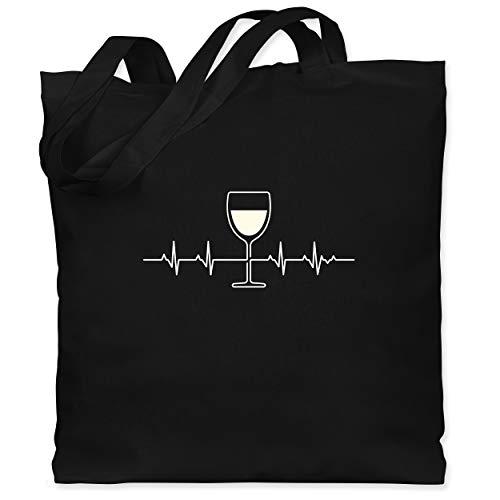 Symbole - Herzschlag Weißwein - Unisize - Schwarz - wein jutebeutel - WM101 - Stoffbeutel aus Baumwolle Jutebeutel lange Henkel