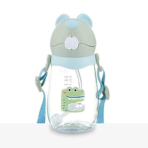 Yidieman Botella Deportiva,Dibujos Animados a Prueba de Fugas con Mango Botella de Agua-A-Green_500ml,Sin BPA con Pajita para gimnasi,hogar,Oficina,Actividades al Aire Libre