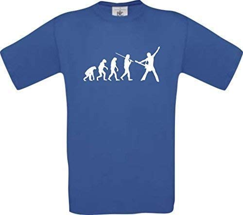 Shirtinstyle Camiseta de Evolución Roquero Músico Groupie Baterista Camisa Divertida Muchos Colores Kultshirt S-XXL - Royal, XL
