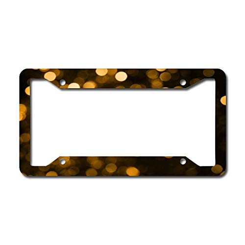 Personalized Front License Plates, Olive Yellow Wallpaper Aluminum Metal License Plate Cover Frame for Car 6.3 X 12.2 Inch