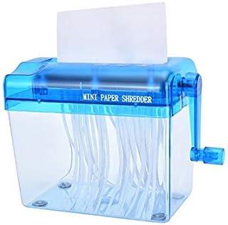 Mini Hand Shredder SENREAL Portable Paper Shredder A6 Manual Shredder Documents Paper Cutting Tool Home Office Desktop Stationery-Blue