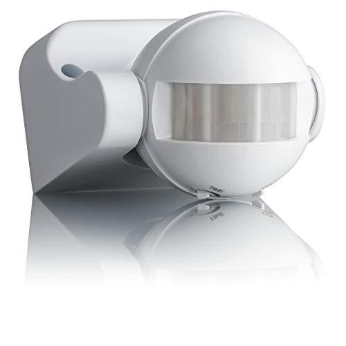 SEBSON Detector de Movimiento Exterior IP44, Montaje Superficie en Pared, programable, Sensor de Infrarrojos, Alcance 12m / 180°, LED Adecuado, orientable