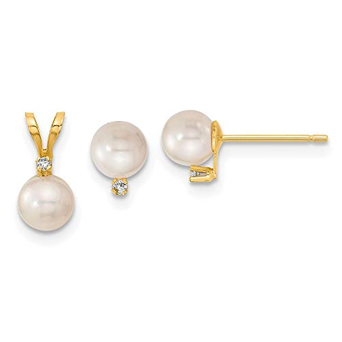 14k Yellow Gold Saltwater Akoya Cultured Pearl and Diamond Earrings (5-6mm) and Pendant Set (5-6mm)